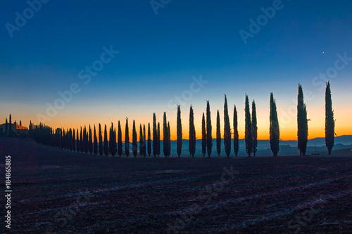 Morgendämmerung über den Hügeln und Zypressen der Toskana, Val d'orcia Poster