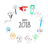 Cute cartoon tooth character set on circle shape. Happy new year of twenty eighteen. Dental care concept.  Illustration isolated on white background. - 184875647