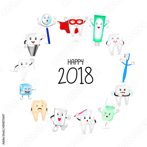 Fototapeta Cute cartoon tooth character set on circle shape. Happy new year of twenty eighteen. Dental care concept. Illustration isolated on white background.