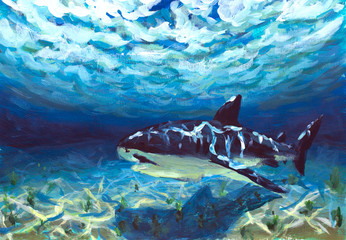 original A beautiful blue turquoise underwater world, a reflection of the sun's rays on the seabed. Big fish, shark, fear, danger oil painting illustration postcard. Abstract artwork. Colorful Art.
