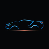 sport car silhouette with light on black background 3