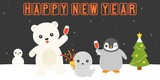 Happy new year retro neon led light, and arctic animals party with new year popper on snowfield for countdown, flat design - 184884229