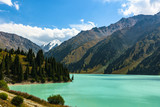 View of the mountains and the Big Almaty lake. Kazakhstan. Tien-Shan Mountains