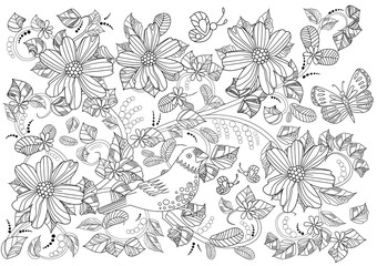 ornament with floral swirls and flowers for coloring book