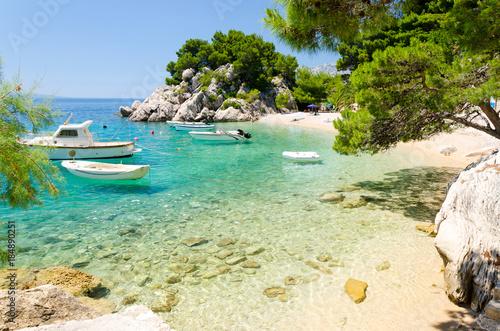 Foto op Canvas Mediterraans Europa beautiful beach in Brela on Makarska riviera, Dalmatia, Croatia