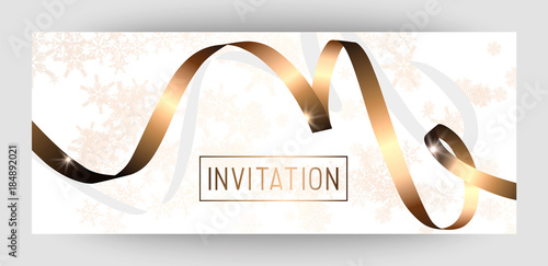 horizontal gift gold design background with ribbons for invitation birthday voucher for a