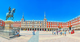 Plaza Mayor  with tourists and people, was built during Philip III's reign (1598–1621). Madrid, Spain. - 184893098