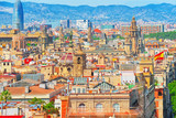 Panorama of the historical center of Barcelona, Catalonia. Spain. - 184893891