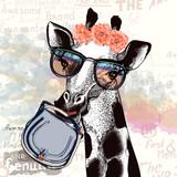 Fashion illustration with giraffe in hipster glasses holding female bag - 184897090