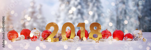 2018 new year eve with christmas baubles and candles 3D rendering