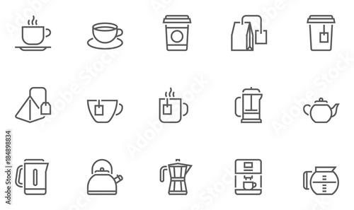 Coffee and Tea Vector Line Icons Set.