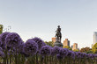 The George Washington Statue with Garlic Flowers