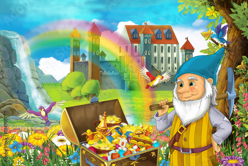 cartoon scene with beautiful stream rainbow and palace in the background little dwarf is standing near hidden home in old tree quarding chest full of treasures and smiling illustration for children - 184908038