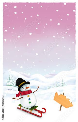 muñeco de nieve con trineo y señal