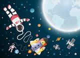 Astronaut cartoon with a spaceship in orbit,paper art