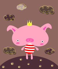 cute prince pig poster vector