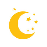 Moon and stars. Yellow moon and stars isolated on white background. Vector stock.