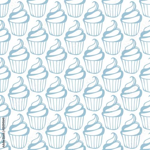 Cream cupcake seamless white blue pattern - 184941641