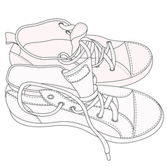 silhouette of old sneakers