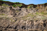 Clay sea cliff erosion, Hornsea, East Yorkshire, UK - 184942830