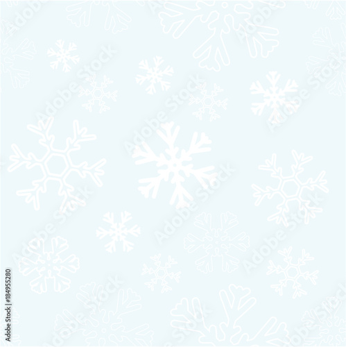 Seamless Background with white snowflakes. Vector graphic winter pattern. - 184955280