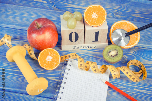 1 January on cube calendar, fruits, dumbbells and tape measure, new years resolu Poster