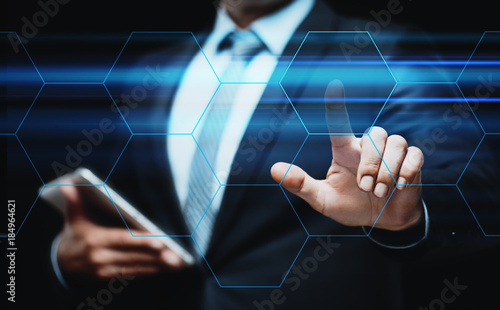 Foto Murales  Businessman pressing button. Innovation technology internet business concept. Space for text