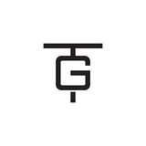 Initial letter T and G, TG, GT, overlapping G inside T, line art logo, black monogram color