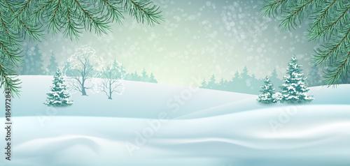 Fotobehang Lichtblauw Vector Winter Landscape