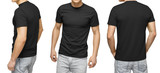 Young male in blank black T-shirt, front and back view, isolated white background with clipping path. Design men tshirt template and mockup for print - 184975667