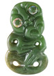 Quadro Neuseeländische Tiki Figur aus Ozeanien als Maori Symbol gefertigt aus neuseeländischer Jade mit Augen aus der Perlmutt Schale der Paua Abalone Meeresschnecke