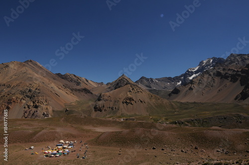Tuinposter Diepbruine Aconcagua Mountain Expedition, Andes Mountains, Argentina