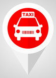 Taxi red flat pointer vector icon. Modern design web button in eps 10 - 184982230