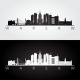 Warsaw skyline and landmarks silhouette, black and white design, vector illustration.