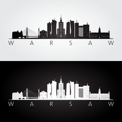 Warsaw skyline and landmarks silhouette, black and white design, vector illustration.