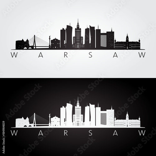Fototapeta Warsaw skyline and landmarks silhouette, black and white design, vector illustration.