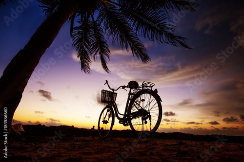 In de dag Fiets Bicycle on the beach near palm trees and ocean at sunset