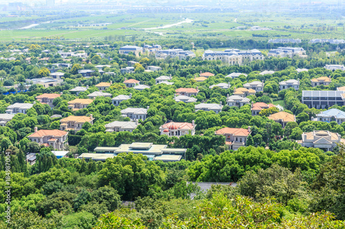 Fotobehang Shanghai Residential buildings and green forest in Shanghai city suburbs,China,aerial view