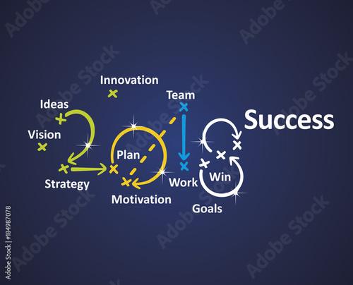 Success 2018 blue background vector