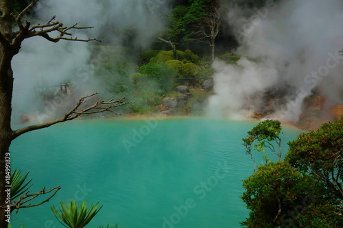 Aluminium Lente Umi Jigoku (Sea Hell) is one of the tourist attractions representing the various hells at Beppu, featuring a pond of egg boiling, blue water. One of the eight hot springs in Oita, Japan.