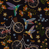 Embroidery bicycle, flowers and humming birds seamless pattern. Fashionable summer pattern embroidery bicycle humming bird and flowers art, template clothes - 184993876