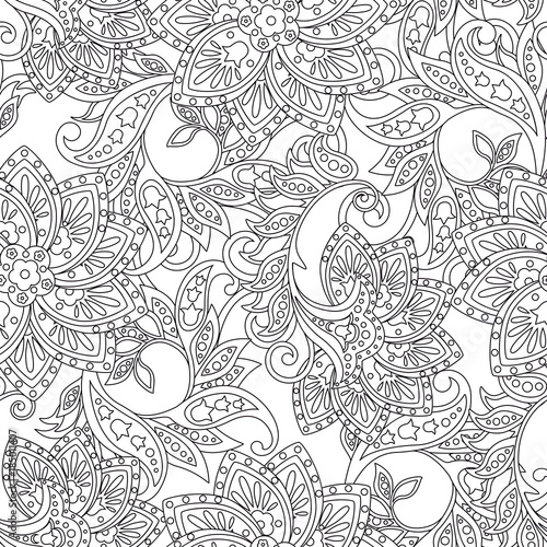 Floral seamless pattern Vector illustration in asian textile style - 185011407