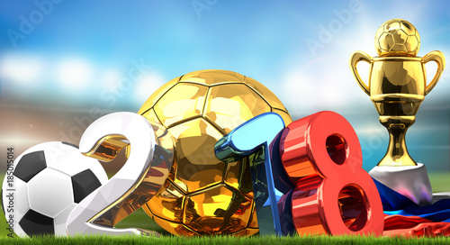 Staande foto Bol 2018 isolated soccer football ball symbol. Russian white blue red colored 3d rendering