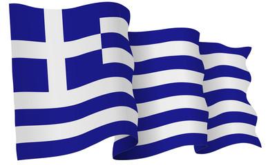 Greece Flag Waving Vector Illustration