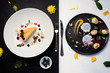 contrast restaurant meals gourmet concept. delicious luxury food. kitchen art