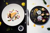contrast restaurant meals gourmet concept. delicious luxury food. kitchen art - 185020622