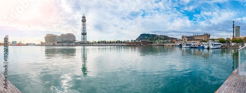 In de dag Barcelona Barcelona Port Vell panorama with cableway to Montjuic