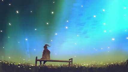 young woman sitting on a bench against beautiful sky, digital art style, illustration painting © grandfailure