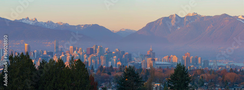 Vancouver BC Downtown Cityscape at Sunset Panorama British Columbia Canada