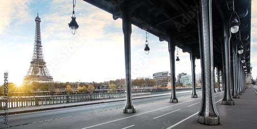 Eiffel tower and Bir Hakeim bridge in Paris, France